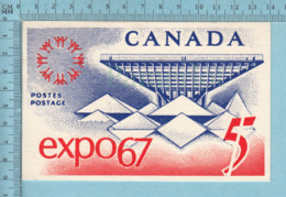 Timbre -Représentation Du Timbre Expo67 Avec Pavillon Canadien , A Voyagé En 1967,  Postcard Carte Postale - Timbres (représentations)