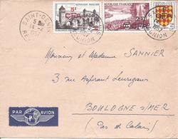 SAINT DENIS REUNION 14 4 1957 Timbre Pont Valentré + Région Bordelaise + Blason Angoumois Surchargés CFA - Lettres & Documents