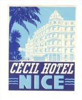 ETIQUETA DE HOTEL  -  CÉCIL HOTEL  - NICE - Etiquetas De Hotel