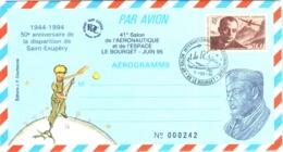 50e Anniv Disparition De Saint-Exupéry NEUF N°1021-AER Avec Cachet Commémoratif 41e Salon Aéronautique + Dessin Portrait - Airmail Stationery