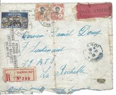 VOYAGE RETOUR RECARD DISTANCE COSTES BELLONTE OCT NOC 1929 RECOMMANDE HANOI RP Pour La Rochelle DEFAUT - Avions