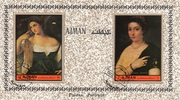 """Ajman 1972 Mi. 465A """"Ritratto Di Donna E Fanciulla"""" Quadro Dipinto Tiziano Vecellio Titian  Paintings CTO Perf. - Nudes"""