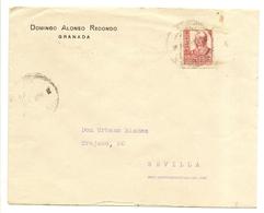 HISTORIA POSTAL Andalucía  Carta Granada-Sevilla  1937   NL748 - España