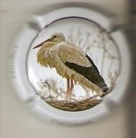 PLACA DE CAVA CAL LLUSIA DE UN PAJARO-BIRD  (CAPSULE) CIGUEÑA  (RARA) - Placas De Cava