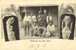 Costa Rica, C.A., Group Of Native Indians, Sculptures 1899 Anto Lehmann Postcard - Costa Rica