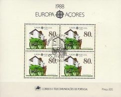 CEPT Transport 1988 Azoren Block 9 O 9€ Pferde-Wagen Hojita Bloque Ss EUROPA Bloc Cars M/s Horses Sheet Bf Portugal - Açores