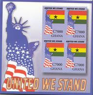 "2002 Ghana USA 9/11 ""UNITED WE STAND""  Flags Statue Of Liberty Miniature Sheet Of 4  MNH - Ghana (1957-...)"