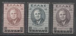 Greece 1945. Scott #469-71 (M) Franklin D. Roosevelt ** Complet Set - Grèce