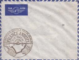 """Enveloppe Par Avion AIR FRANCE Avec Cachet """"Premier Service Postal Aérien FRANCE-ANTILLES - Septembre 1937"""" - 2 Scans - Luchtvaart"""