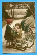 Bonne Annee Prosit Neujahr Happy New Year Enfants Luge - Bambini