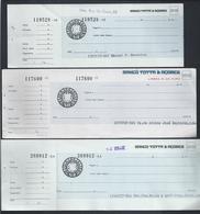 Três Cheques Diferentes Do Banco Totta & Açores, Rua Do Ouro, Lisboa. Grupo CUF.Three Different Checks From Banco Totta - Chèques & Chèques De Voyage