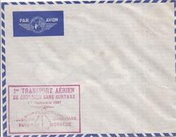 """Enveloppe Par Avion AIR FRANCE Avec Cachet """"Premier Transport Aérien De Courrier Sans Surtaxe - Septembre1937"""" - 2 Scans - Luchtvaart"""