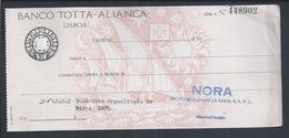 Cheque Do Banco Totta-Aliança, Lisboa. Grupo CUF. Check Of Banco Totta-Aliança,  Lisbon. Group CUF. Caravel. 2sc. - Chèques & Chèques De Voyage