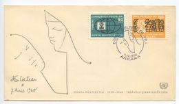 Turkey 1960 FDC Scott 1478-1479 World Refugee Year - 1921-... Republic