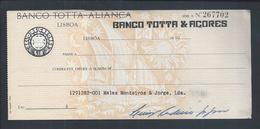 Raro Cheque Do Banco Totta - Aliança Com Sobrecarga. Cheque Banco Totta & Açores, Lisboa.Grupo CUF.Rare Check.2sc - Cheques & Traveler's Cheques