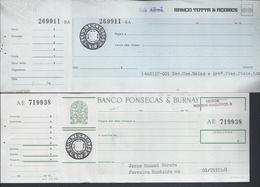 Cheques Do Banco Fonsecas & Burnay E Do Banco Totta & Açores, Lisboa. Checks.Überprüfungen - Cheques & Traveler's Cheques
