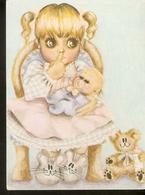 K. Sweden Child Girl With Baby Doll Toys Teddy Bear Illustration Posted In 2005 Sverige - Children