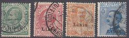 LIBIA (COLONIA ITALIANA)  -  Lotto Di 4 Valori Usati: Yvert 3, 4, 6 E 7 Come Da Immagine. - Libia
