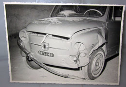 FIAT 600 INCIDENTATA FOTO  B/N VINTAGE - Automobili