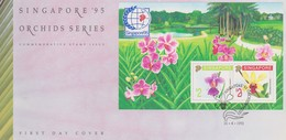 Singapore 1991 Orchids Serie I Singapore 95 Miniature Sheet FDC - Singapore (1959-...)