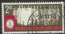 1968 2d Human Rights, Used - Malta