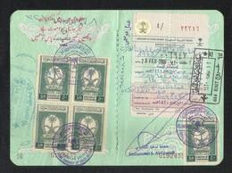 Saudi Arabia Block Of 4 Revenue Stamps On Used Passport Visas Page - Saudi Arabia