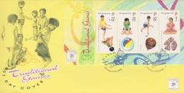 Singapore 1997 Traditional Games  Miniature Sheet FDC - Singapore (1959-...)