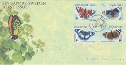 Singapore 1999 Butterflies Joint Issue With Sweden FDC - Singapore (1959-...)
