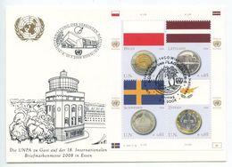 United Nations - Vienna 2008 Postcard Briefmarkenmesse Essen, Scott 421a-d - Wien - Internationales Zentrum