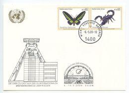 United Nations - Vienna 2009 Postcard Briefmarkenmesse Essen, Scott 438-439 - Wien - Internationales Zentrum