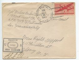 United States 1943 Airmail Cover APO 709 (Guadalcanal) To Albany NY W/ Censor - Luftpost