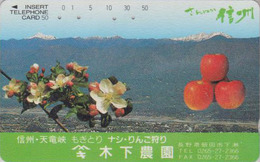 Télécarte Ancienne Japon / 110-011 - Fruit - POMME - APPLE Japan Phonecard - APFEL Obst Telefonkarte - 91 - Alimentation