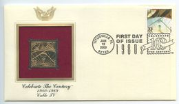 United States 2000 FDC & Gold Replica Sc. 3190f Celebrate The Century - Cable TV - Ersttagsbelege (FDC)