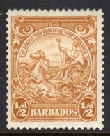 BARBADOS - 1938-1947 HALFPENNY YELLOW-BISTRE DEFINITIVE 1942 COLONY SEAL PERF 13.5 X 13 REF A MOUNTED MINT MM * SG 248c - Barbados (...-1966)