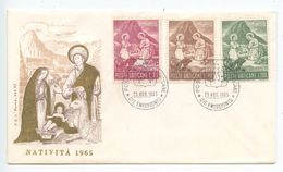 Vatican 1965 FDC Scott 420-422 Christmas - Peruvian Nativity Scene - FDC