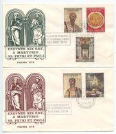 Vatican 1967 2 FDCs Scott 448-452  Martyrdom Of The Apostles Peter & Paul - FDC