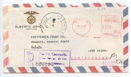 Venezuela 1977 Registered Airmail Cover Caracas To Newport VT W/ Postalia Meter - Venezuela
