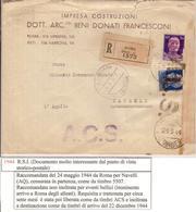 (St.Post.).R.S.I.Raccomandata.Occupazione E Liberazione Di Roma.Doppia Censura.Non Comune (64-13) - 1944-45 République Sociale
