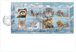 H01 Kyrgyzstan 2018 Mi# 114-117 Animals Red Book Wild Cats Bears Manul FDC - Kirghizistan