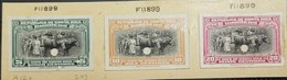 O) 1945 COSTA RICA, INDEX PROOF PUNCH -AMERICAN BANK NOTE, COFFEE HARVESTING SCT 243 -SCT 244 -SCT 245, XF - Costa Rica