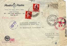 1944- Enveloppe Recc.  De Firenze N°10 Affr. Mixte à 2,75 Lit  Pour Paris - 4. 1944-45 Repubblica Sociale