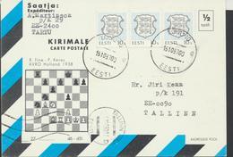 55-403 Estonia Letter Chess Postcard 15.10.1993 From Post Arrival Postmark - Estonia