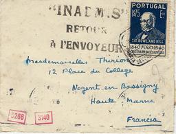 """1942 - Enveloppe Du Portugalaffr. 1s75 Pour La France Avec """" INADMIS / RETOUR /A L'ENVOYEUR """" - Marcophilie (Lettres)"""
