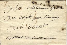 NOM REVOLUTIONNAIRE An 2 - Lettre De 68 / VILLE-AFFRANCHIE  ( Lyon ,Rhône) 54 X 8 1/2 Mm Noir  Taxe 13 Sous - 1701-1800: Precursors XVIII