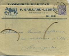BINCHE :  Commerce De Bétail   ( Vieille Enveloppe  1920 )   F. Gaillard - Lebrun  (  Koe - Vache ) - Entiers Postaux