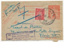 Petit Lot - 6 Cartes-lettres Ayant Servi, Même Archive, 1F Iris Rouge, 1F Pétain, 2F Chaplain Dont Cachet Rect Rec - Entiers Postaux
