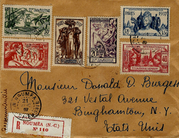 1937- Enveloppe RECC. De Nouméa Pour Les U S A - Affr. Expo 1937  Série Complète - Briefe U. Dokumente