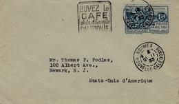"""1933- Env De Nouméa Pour Les U S A - Affr. N° 83 SZUL Oblit. FAUX Daguin """" BUVEZ Le / CAFE / De La Nouvelle / CALEDONIE"""" - Briefe U. Dokumente"""