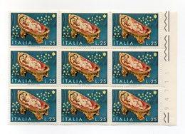 Italia - Repubblica - 1972 - Blocco Di 9 Da 25 Lire Natale - Culla Con Bambino - Nuovo - (FDC13680) - 6. 1946-.. Repubblica