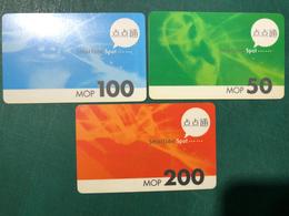 MACAU - SMARTONE RECHARGE VOUCHER CARD WITH 3 DIFFERENT VALUE - LOT 1 - Macau